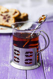 Delicious cake with fresh cherries and cup of tea Stock Images