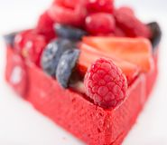 Cake with fresh forest berries. Delicious cake with fresh forest berries royalty free stock image