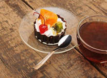 Delicious cake with fruit Stock Photo
