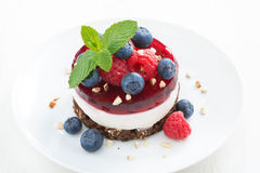 Delicious cake with fruit jelly and fresh berries on a plate Stock Photos