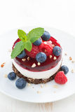 Delicious cake with fruit jelly and fresh berries. On a white plate, top view, vertical Stock Photography