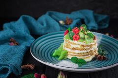 Delicious cake with fruit and mint decoration on black background.  Royalty Free Stock Photo