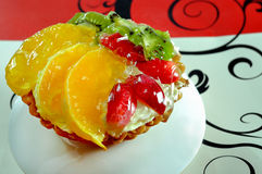 Delicious cake with fruits close up Royalty Free Stock Photos