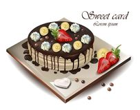 Delicious cake with fruits Vector realistic. Illustration. Chocolate syrop top Stock Images