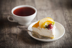 Delicious cake and hot tea Royalty Free Stock Photos