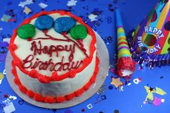 Delicious Cake with Icing and Treats. Throwing a Big Birthday Party Royalty Free Stock Image