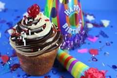 Delicious Cake with Icing and Treats. Throwing a Big Birthday Party Royalty Free Stock Photography