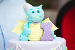 Delicious cake with little hippo Stock Photography