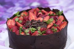 Delicious cake made in the house with chocolate. Mint leaf, pomegranate and strawberry stock photography