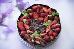 Delicious cake made in the house with chocolate. Mint leaf, pomegranate and strawberry royalty free stock photo