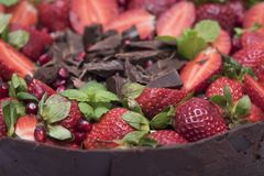 Delicious cake made in the house with chocolate. Mint leaf, pomegranate and strawberry stock photo