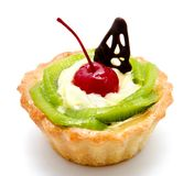 Delicious cake pastry with fruit cherry kiwi isolated on a white. Background Stock Photos