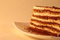 Delicious cake on plate royalty free stock photos