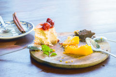 Delicious cake in plate wooden Royalty Free Stock Photos