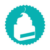 Delicious cake portion sweet icon Stock Images