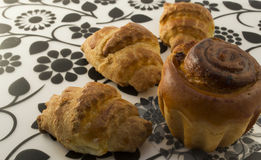 A delicious cake with raisins and croissants Royalty Free Stock Image