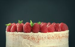 Delicious cake with raspberries on dark background,. Closeup Stock Image