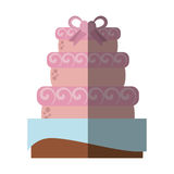 Delicious cake ribbon wedding dessert with shadow Stock Image