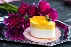 Delicious Cake On The Saucer stock photos