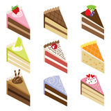 Delicious Cake Slices. Illustration of nine slices of delicious cakes Stock Photo