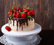 Delicious cake with strawberry and cherry Stock Images
