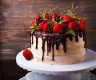 Delicious cake with strawberry and cherry Stock Photos