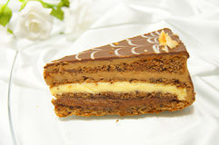 Delicious cake with three different kind of chocolate Royalty Free Stock Images