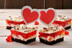 Delicious cake for Valentine Day with empty space for writing na. Mes royalty free stock photos