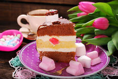 Delicious cake for valentines day Stock Images