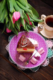 Delicious cake for valentines day Royalty Free Stock Photo