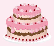 Delicious cake vector set on pink background Stock Photo