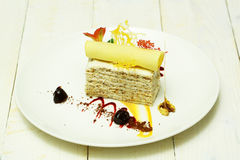 Delicious cake with wafer roll Royalty Free Stock Photography