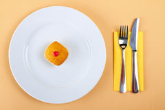 Delicious cake on white plate Stock Photos