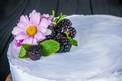 Cake on a black background. Delicious cake on a wooden black background Royalty Free Stock Photos