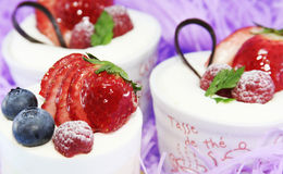 Delicious cakes. Colorful berry delicious cakes. Bon appetit Royalty Free Stock Photo