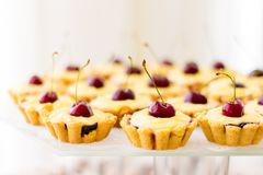 Delicious cakes with cherries. Excellent dessert for the holiday stock photography