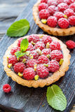 Delicious cakes with chocolate and fresh raspberries. Stock Image