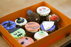 Delicious cakes for Halloween. Zombie, witch,. Cakes for Halloween in a Box Stock Photo