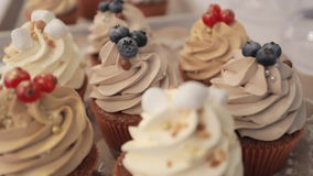 Delicious cakes with nuts and berries close up, wedding refreshments. stock footage