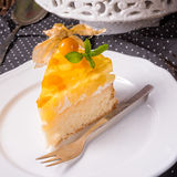 Delicious cakes with Physalis, fresh apples and cream Royalty Free Stock Images