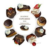 Delicious cakes round card Vector realistic illustrations vector illustration