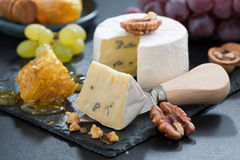 Delicious Camembert with fresh honey and nuts, close-up Stock Photos