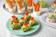 Delicious canapes for baby shower Royalty Free Stock Photo