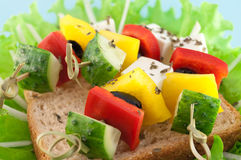 Delicious canapes on the bread Royalty Free Stock Images