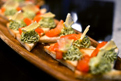Delicious canapes with salmon Stock Photo