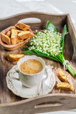 Delicious cantucci with coffee Royalty Free Stock Photography