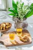 Delicious cantucci with Vin Santo Stock Photo
