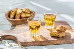 Delicious cantucci with wine Royalty Free Stock Photo