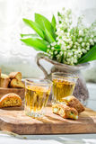 Delicious cantuccini with wine Stock Photo