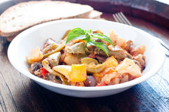 Delicious caponata typical Sicilian dish with peppers , tomatoe Royalty Free Stock Photography